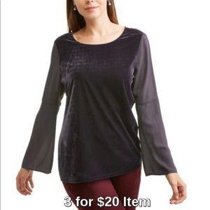 Tops - Velvet Bell Sleeve Top in Grey